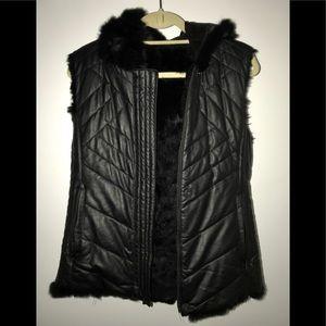 BCBGMAXAZRIA jade reversible fur vest